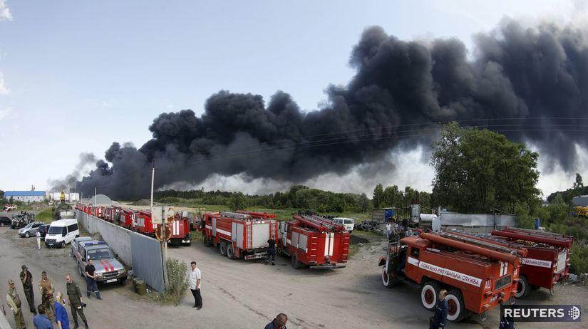 Ukrajina, rafinéria, požiar