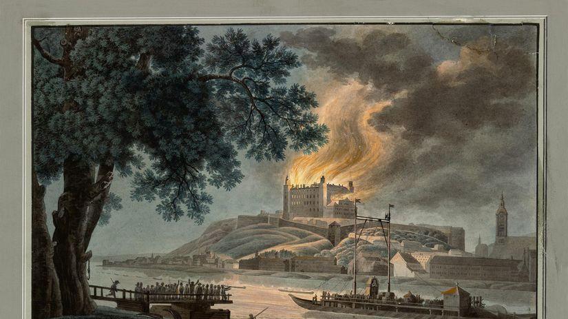 Bratislavský hrad, požiar, maľba
