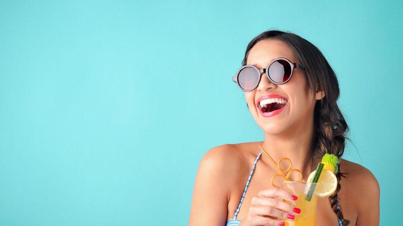 leto, koktejl, žena, relax, pitný režim