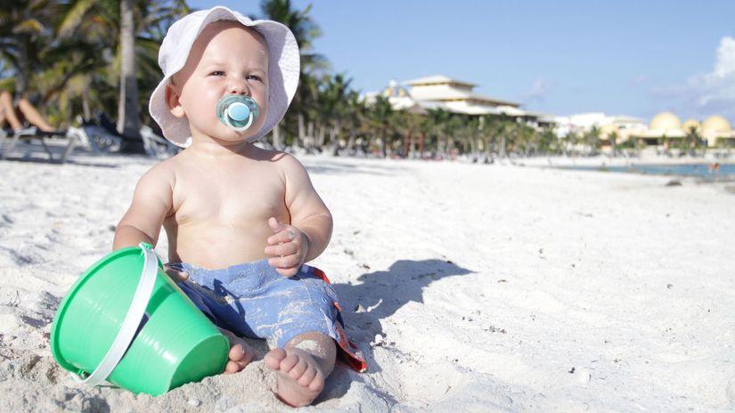 dieťa, pláž, leto, dovolenka