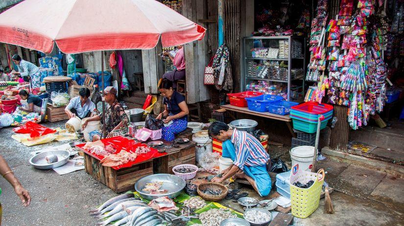 Mjanmarsko, jedlo, trh