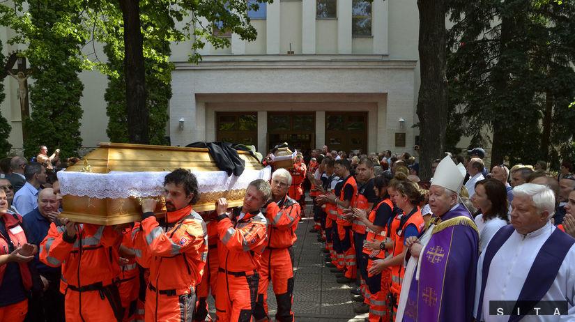 záchranári, pohreb