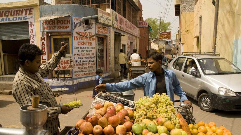 India, ulica, trh, ovocie