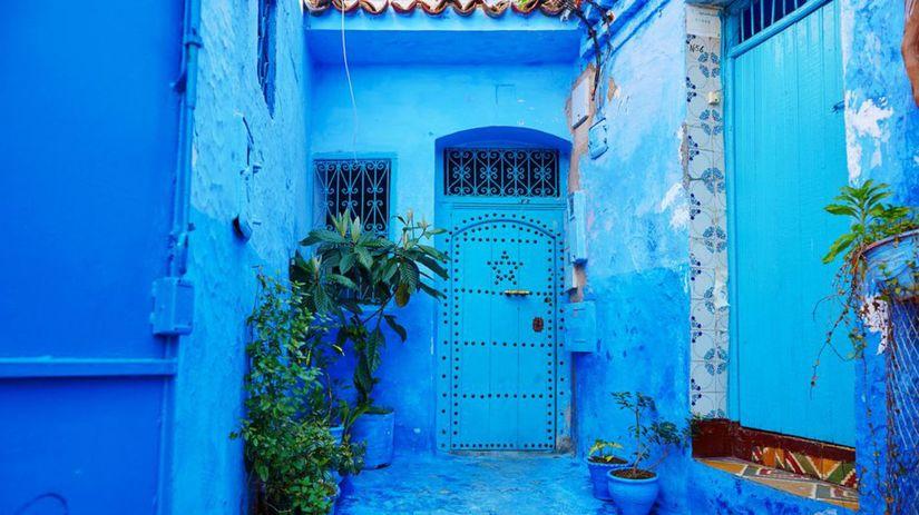 Chefchaouen, Maroko, modré mesto, modré steny
