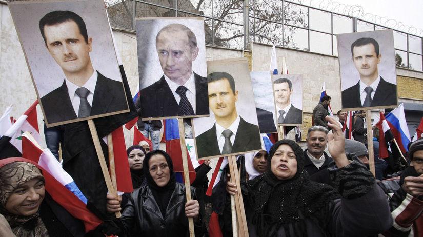 rusko, sýria, asad, putin, demonštrácia, protest,