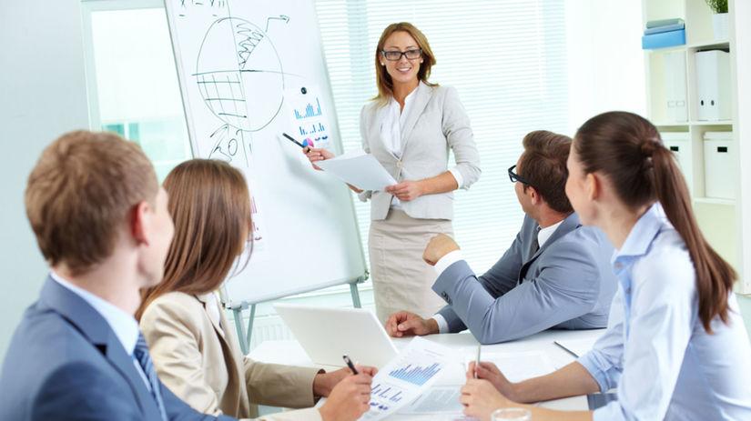 žena, kancelária, prezentácia