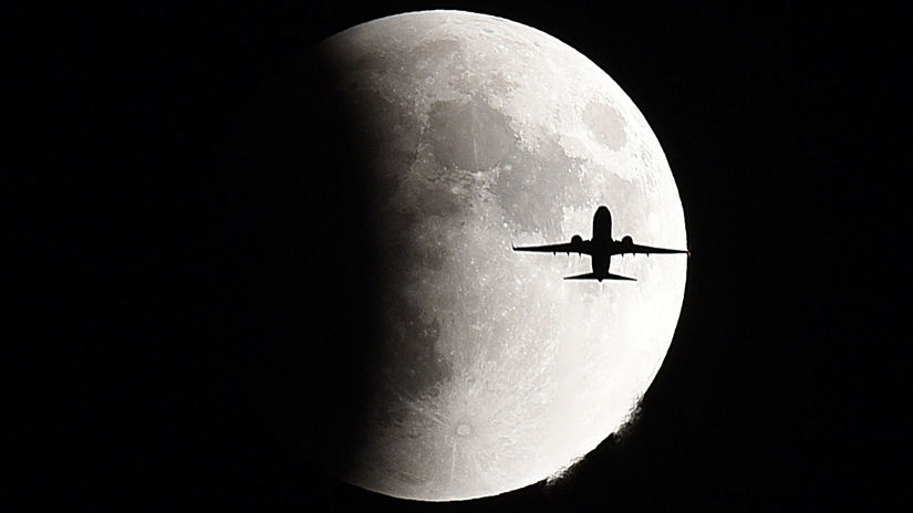 Spln, zatmenie, Mesiac, lietadlo, noc, obloha,