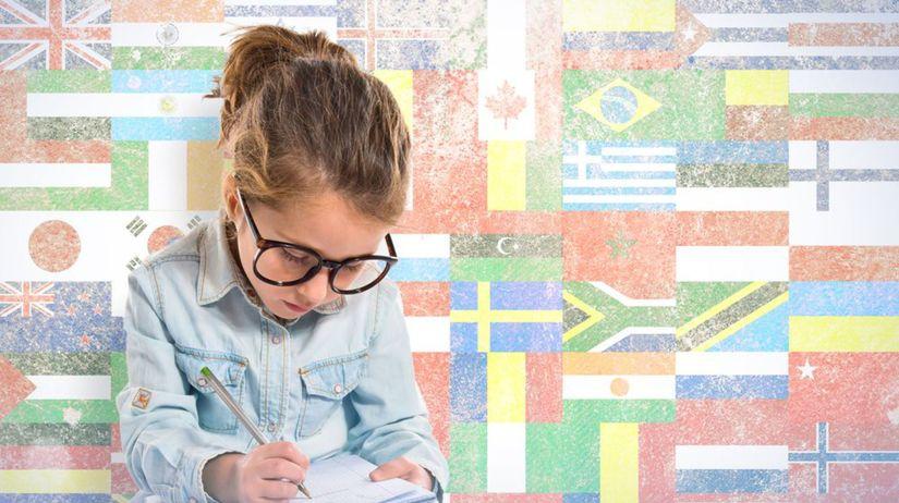 jazyk, dievča, písanie, vlajky, štáty, krajiny,...