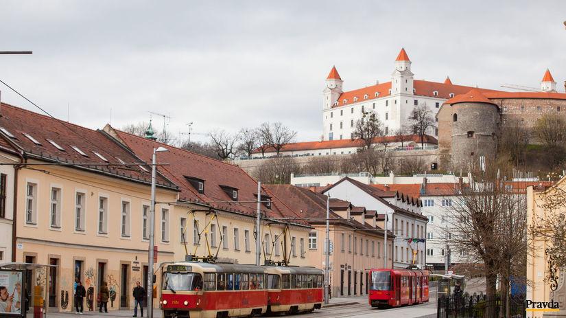 Bratislavský hrad, Kapucínska, električky,...