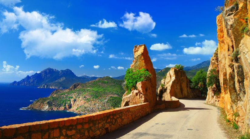 Korzika, ostrov, more, cesta, leto, skaly, bralo