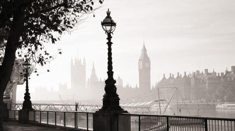 Londýn, hmla, tma, ráno, Británia, Big Ben,...