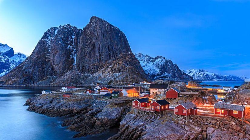 Nórsko, Lofoten, skala, domy, záliv, ľad, zima,...