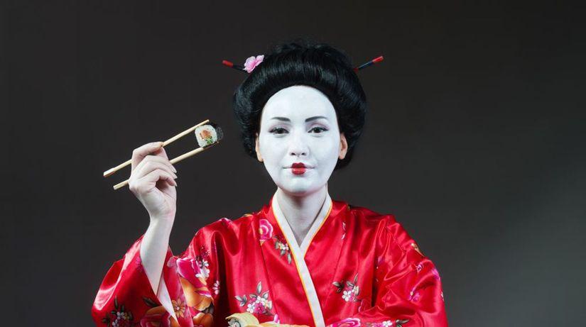 gejša, Japonsko suši, paličky, jedlo,...