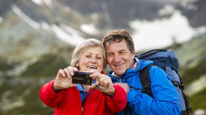 túra, turisti, hory, pár, skaly, sneh, zima,...