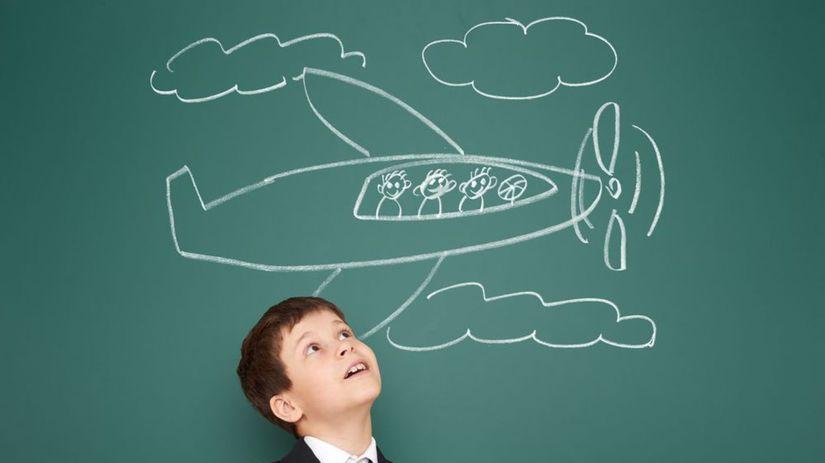chlapec, lietanie, lietadlo, tabuľa, krieda,...