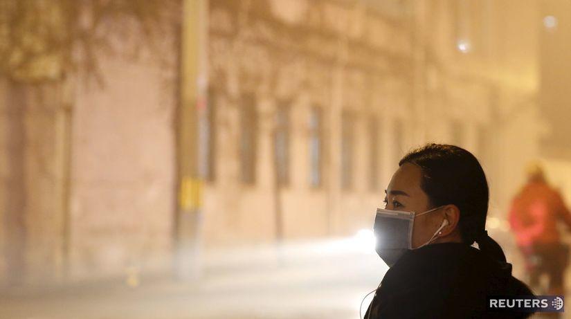 Čína, Peking, smog, znečistenie ovzdušia, rúška,