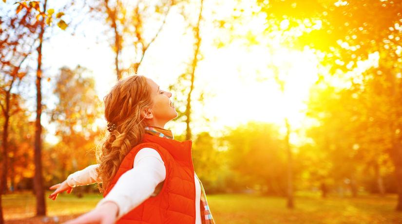 slnko, stromy, jeseň, príroda, vitamín D