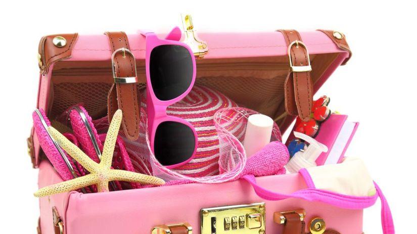 kufor, leto, ružový kufor, balenie, dovolenka,...