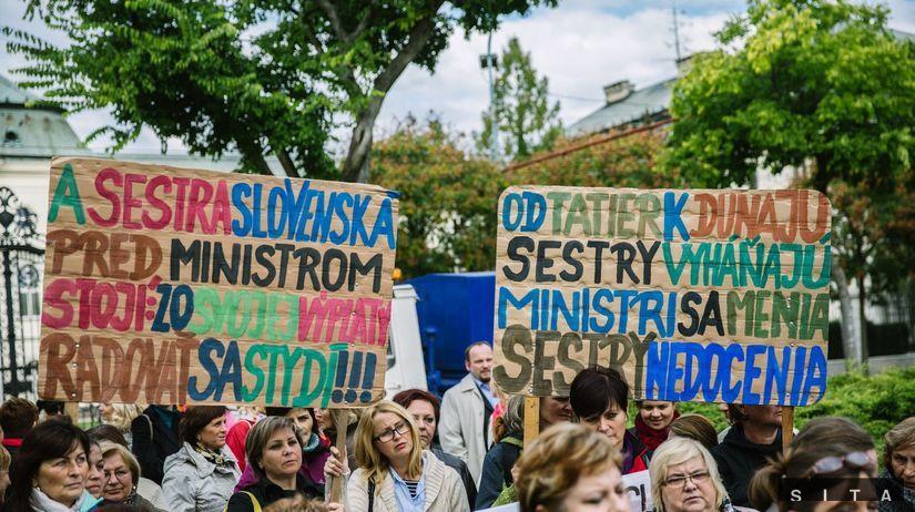 protest, sestry, zdravotníctvo