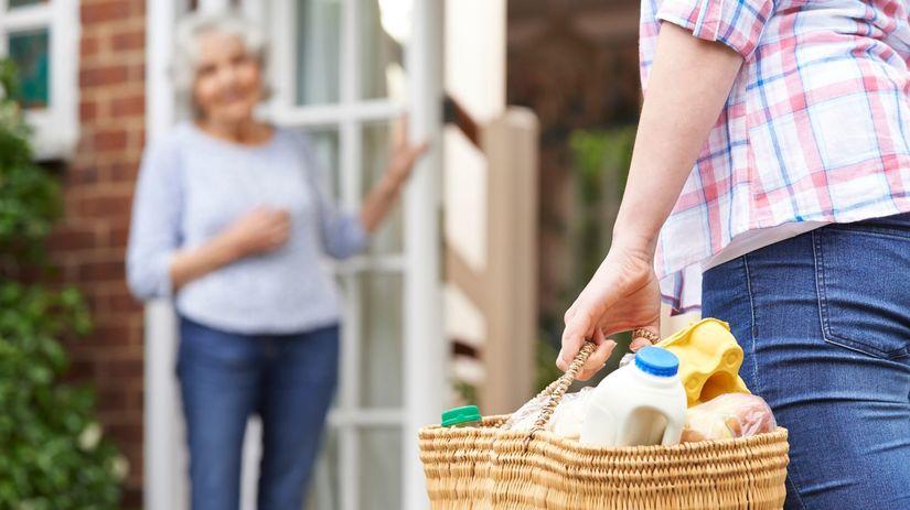 nákup, potraviny, košík, človek, dôchodca, jedlo