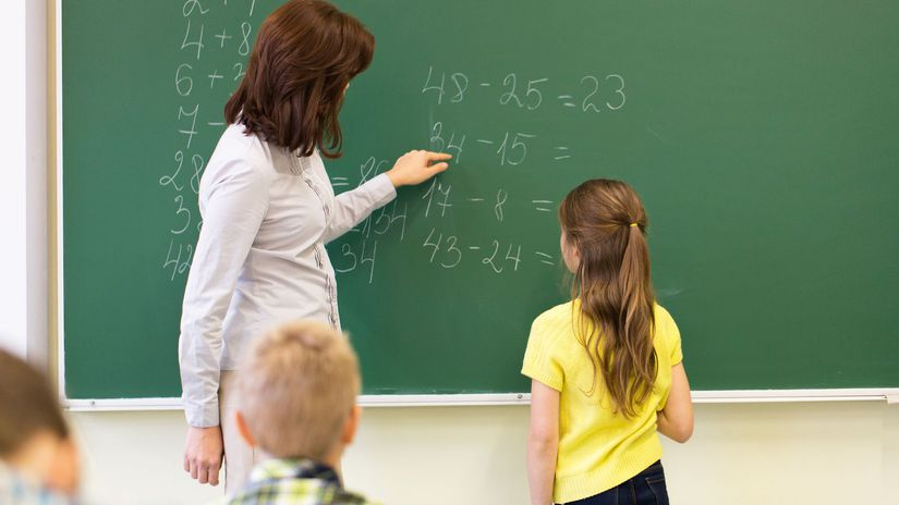 škola, žiak, učiteľ, tabuľa, matematika,...