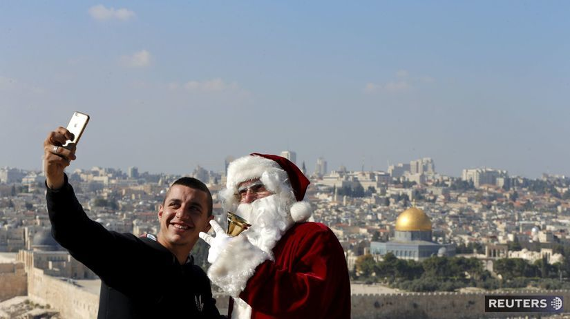 Vianoce, Santa Claus, selfie, mobil, Palestína