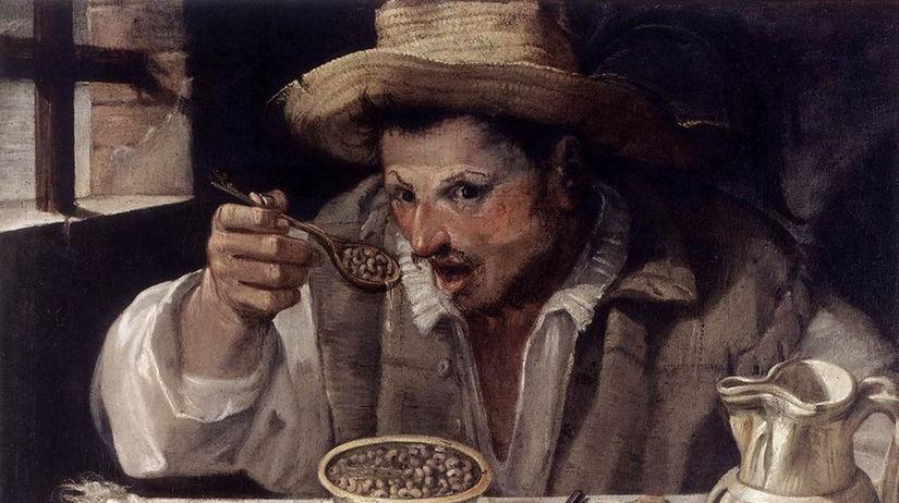 Muž, ktorý je fazuľu. Annibale Carracci.