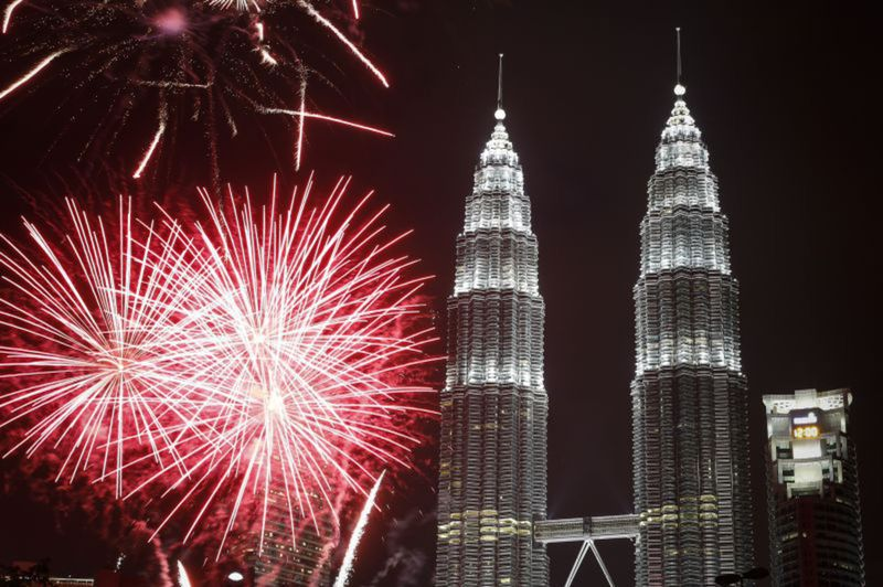 Malajzia, Silvester, ohňostroj