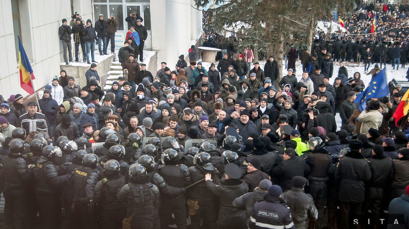 moldavsko, demonštrácia, protest,