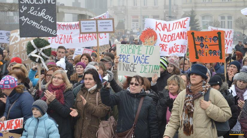 štrajk učiteľov, strajk, Levice,