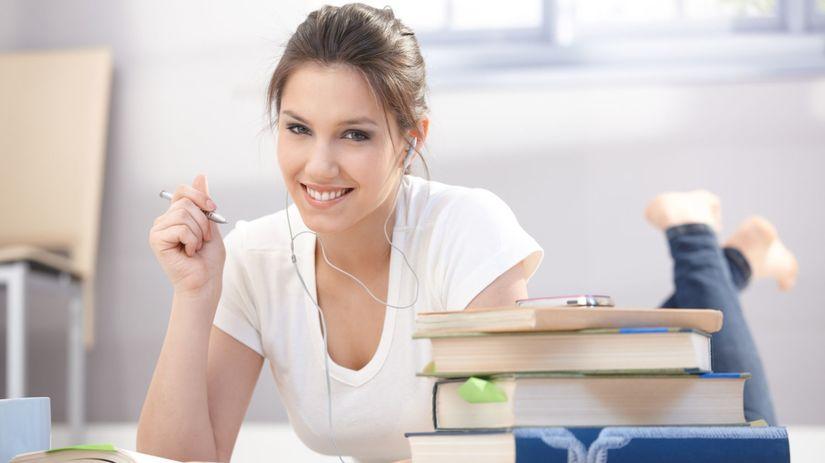 dievča, knihy, škola