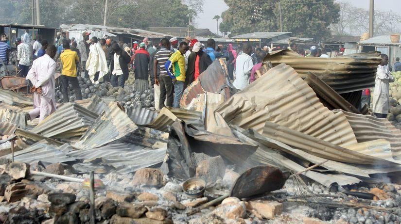 Nigéria, boko haram, požiar
