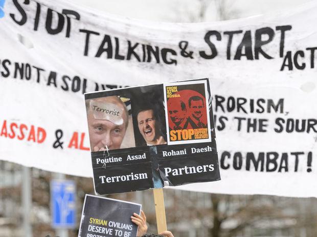 ženeva, sýria, mierové rozhovory o sýrii, rozhovory o sýrii, demonštrácia, protest,