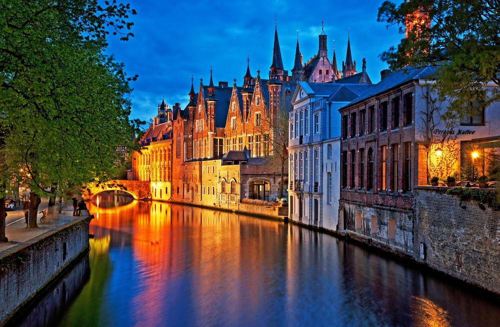 Bruggy, Belgicko, domy, kanál, voda, rieka,