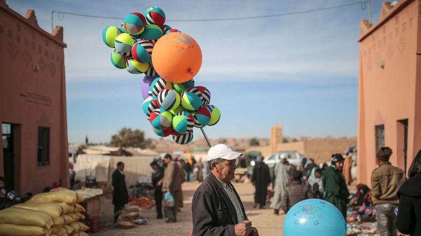Maroko, balóny, predavač pouličný,
