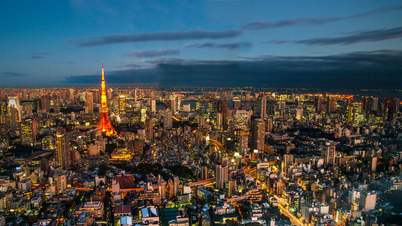 Tokio, Japonsko, mesto, večer, svetlá