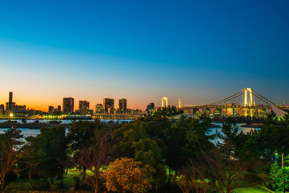 Tokio, Japonsko, večer, mesto, Dúhový most