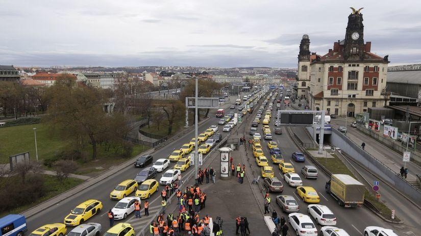 Česko, taxi, protest, taxikári,