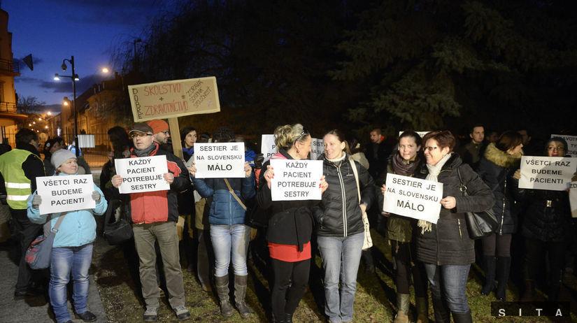 zdravotné sestry, protest, demonštrácia, paškov...