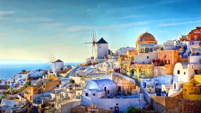 Oia, Grécko, domy, more, domy, veterné mlyny,...