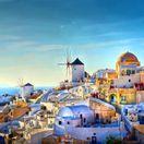Oia, Grécko, domy, more, domy, veterné mlyny, biele domy, dovolenka, večer, západ slnka