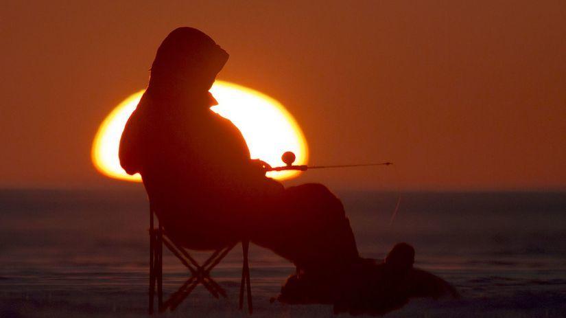 rybár, zima, slnko, západ slnka, večer, udica,...
