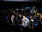 V strede zľava: Predseda strany OĽaNO Igor Matovič, predseda strany Nova Daniel Lipšic a kandidát za stranu OĽaNO Ján Budaj počas tlačovky vo volebnej centrále po ukončení volieb do Národnej rady SR v roku 2016.