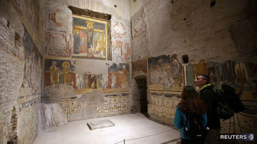 Fresky v Starom kostole panny Márie v Ríme....