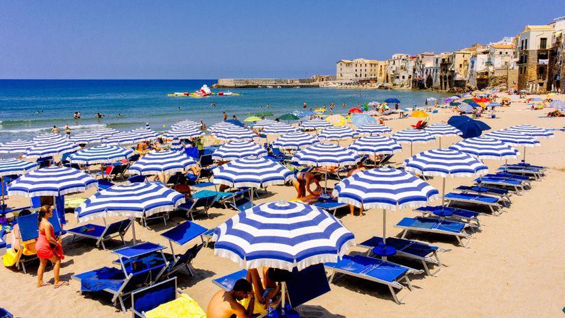 Taliansko, pláž, Cefalu, more, opaľovanie,...