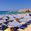 Taliansko, pláž, Cefalu, more, opaľovanie, dovolenka