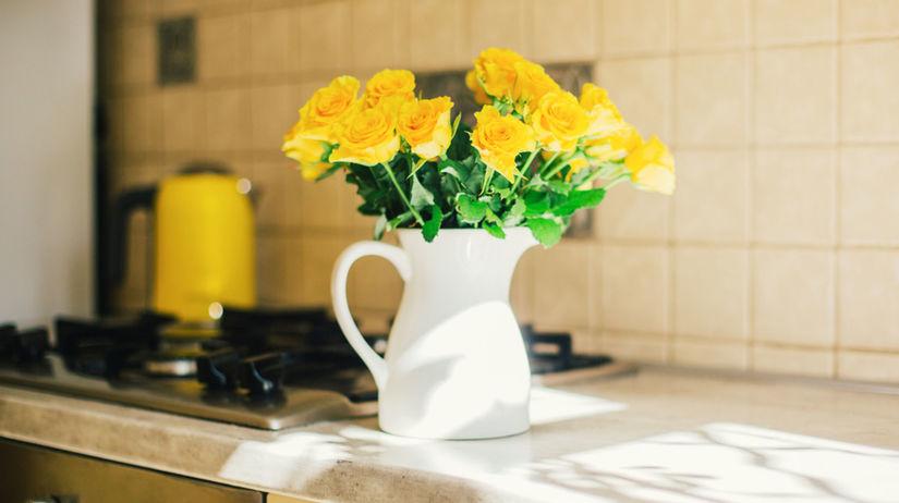 kytica, ruža, kuchyňa, stôl