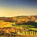 Taliansko, Toskánsko, Crete Senesi, polia, večer, cesta, dom