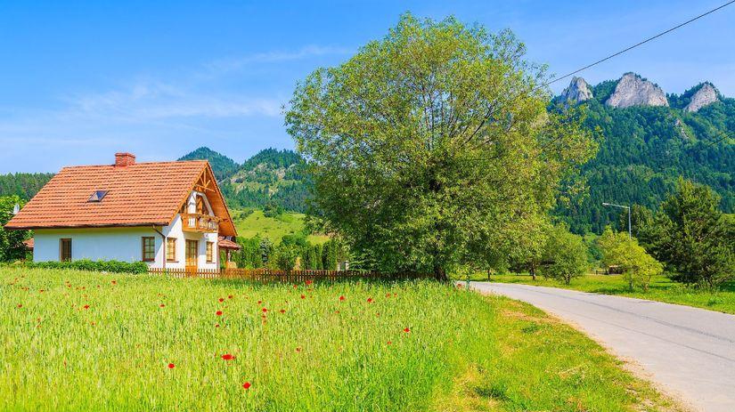 Pieniny, dom, strom, les, tráva, príroda, hory,...