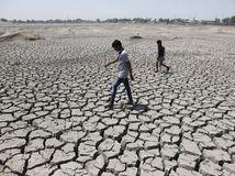 India, vysušená zem, praskliny, pukliny, sucho, horúčava, leto